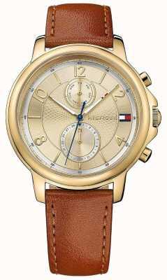 Tommy Hilfiger Relógio de couro das mulheres biscotto claudia 1781818