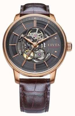 FIYTA Mens fotógrafo couro marrom auto relógio GA860016.PHK