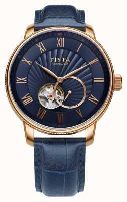 FIYTA Mens auto relógio de couro azul fotógrafo GA860015.PLL