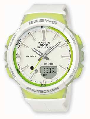 Casio Womens baby-g step tracker relógio verde / branco BGS-100-7A2ER