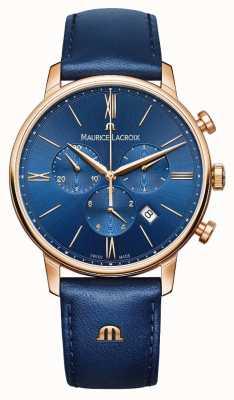 Maurice Lacroix Eliros cronógrafo azul e dourado relógio EL1098-PVP01-411-1