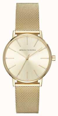 Armani Exchange Relógio de pulseira de malha banhado a ouro da mulher AX5536
