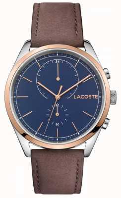 Lacoste Mens san diego cinta pulseira de couro azul 2010917