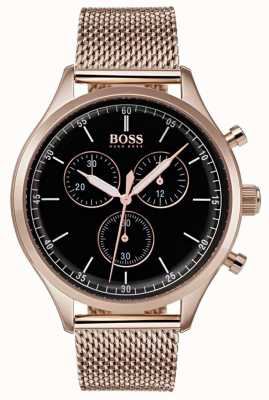 Hugo Boss Mens companheiro cronógrafo rosa pulseira de malha de ouro 1513548