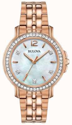 Bulova Womans subiu relógio de cristal tom de ouro 98L243