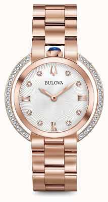 Bulova Womans rubaiyat subiu relógio de diamantes de tom de ouro 98R248