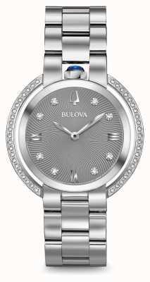 Bulova Mulher rubaiyat prata tom relógio de diamantes 96R219