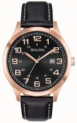 Bulova Mens vestido relógio preto couro rosa caso tom dourado 97B164
