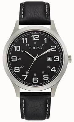 Bulova Mens vestido relógio preto caixa de aço de couro 96B276