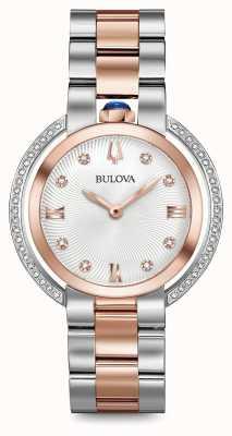 Bulova Mulher rubaiyat dois tom relógio de diamantes 98R247