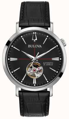 Bulova Relógio de couro preto automático para homem 96A201