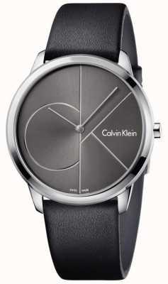 Calvin Klein Unisex pulseira de couro preto de relógio mínimo K3M211C3