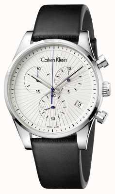Calvin Klein Couro preto de cronógrafo firme unisex K8S271C6