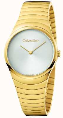 Calvin Klein Relógio de giro de aço inoxidável de tom de ouro da mulher K8A23546
