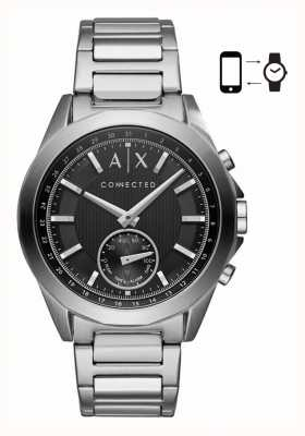 Armani Exchange Mens híbrido smartwatch pulseira de aço inoxidável mostrador preto AXT1006