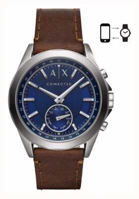Armani Exchange Mens híbrido smartwatch pulseira de couro marrom mostrador azul AXT1010