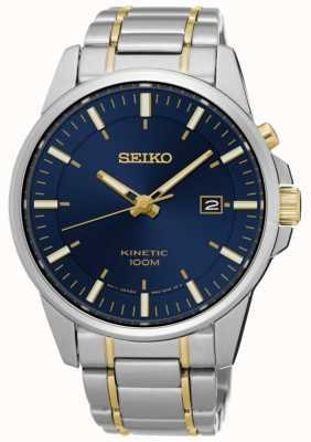 Seiko Mens kinetic dois tons bracelete de discagem azul SKA757P1