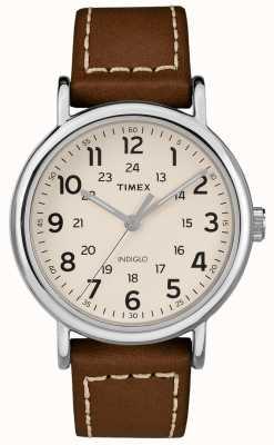 Timex Mens weekender pulseira de couro marrom mostrador branco TW2R42400