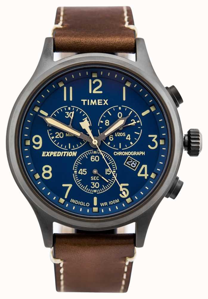 dd691bed5c2 Timex Expedition Scout Cronógrafo Marrom Pulseira Mostrador Azul ...
