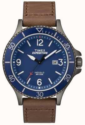 Timex Ranger expedição ranger pulseira de couro marrom azul TW4B10700