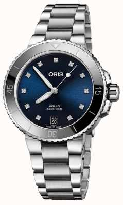 Oris Womens aquisition diamond set relógio de aço 01 733 7731 4195-07 8 18 05P