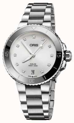Oris Womens aquisition diamond set relógio de aço 01 733 7731 4191-07 8 18 05P