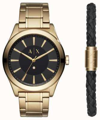 Armani Exchange Mens nico conjunto de presente de pulseira de dois tons AX7104