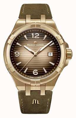 Maurice Lacroix Aikon bronze mens relógio de couro vintage AI1028-BRZ01-720-1