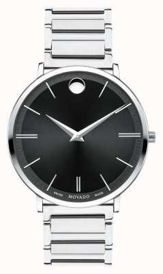 Movado Mens ultra slim relógio de aço inoxidável 0607167
