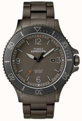 Timex Mens expedição ranger gun metal pulseira cinza dial TW4B10800