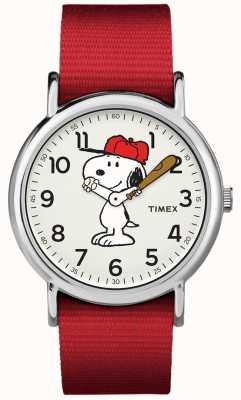 Timex Relógio cinta vermelha snoopy TW2R414006B