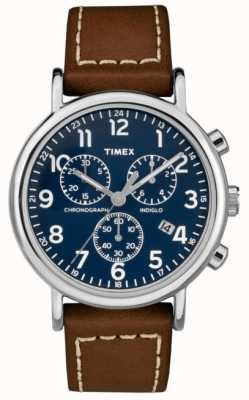 Timex Mens weekender cronógrafo pulseira de couro marrom TW2R42600D7