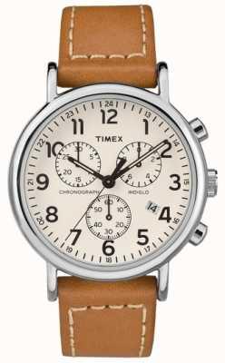 Timex Mens weekender cronógrafo pulseira de couro tan TW2R42700D7PF