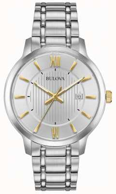 Bulova Mens clássico relógio vestido de aço inoxidável 98B306