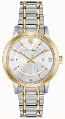 Bulova Relógio de vestido clássico em aço inoxidável para mulher 98P175