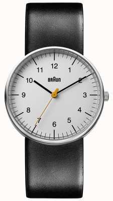 Braun Relógio de couro preto unissex minimalista BN0021BKG