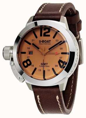 U-Boat Classico 45 gmt ser couro marrom automático relógio de couro 8051