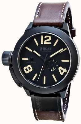 U-Boat Bracelete de couro castanho automático mate Classico 48 8107