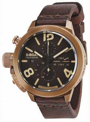 U-Boat Bracelete de couro castanho classico 50 bronze ca br 8064