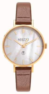 Acctim Relógio de couro marrom controlado por mulheres 60516