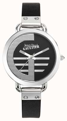 Jean Paul Gaultier Womens index g pulseira de couro preto mostrador preto JP8504315