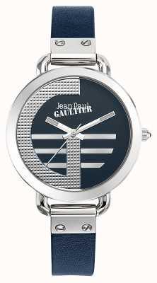 Jean Paul Gaultier Índice de mulheres g pulseira de couro azul mostrador azul JP8504324