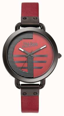 Jean Paul Gaultier Womens index g pulseira de couro vermelho mostrador vermelho JP8504321