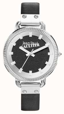 Jean Paul Gaultier Bracelete de couro preto índice das mulheres, mostrador preto JP8504312