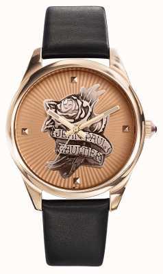 Jean Paul Gaultier Tatoo Marinha pulseira de couro preto rosa dial de ouro JP8502411