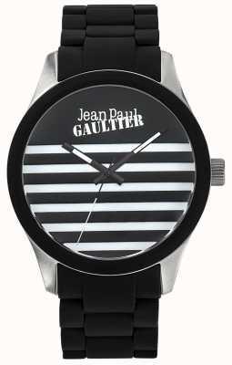 Jean Paul Gaultier Enfants terribles pulseira de aço preto de borracha pulseira preta JP8501121