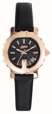 Jean Paul Gaultier Womens point g - mini pulseira de couro preto mostrador preto JP8503502