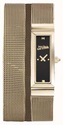 Jean Paul Gaultier Womens cote de maille pulseira de malha de ouro pvd pulseira preta JP8503903