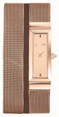 Jean Paul Gaultier Womens cote de maille subiu pulseira de malha de ouro pvd pulseira rosa JP8503906