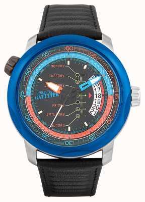 Jean Paul Gaultier Mens cockpit pulseira de couro preto mostrador preto JP8504901